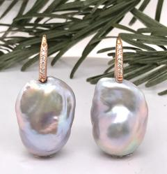 Baroque Pearl With White Diamond On Rose Gold 18 Karat Drop Earring - 1203688