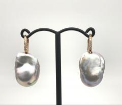Baroque Pearl With White Diamond On Rose Gold 18 Karat Drop Earring - 1203689