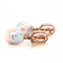 Baroque Pearl with Diamonds and Calcedony on Rose Gold 18 Karat Dangle Earrings - 1224522