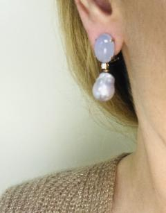 Baroque Pearl with Diamonds and Calcedony on Rose Gold 18 Karat Dangle Earrings - 1224525