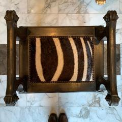 Baroque Style Zebra Hide Walnut Tabourets - 1206331