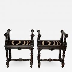 Baroque Style Zebra Hide Walnut Tabourets - 1206424