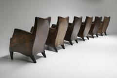 Bart Van Bekhoven Bart Van Bekhoven Armchairs in Brown Grey Patina Sheep Leather 1970s - 1421035
