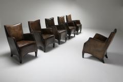 Bart Van Bekhoven Bart Van Bekhoven Armchairs in Brown Grey Patina Sheep Leather 1970s - 1421036