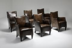 Bart Van Bekhoven Bart Van Bekhoven Armchairs in Brown Grey Patina Sheep Leather 1970s - 1421037