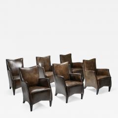 Bart Van Bekhoven Bart Van Bekhoven Armchairs in Brown Grey Patina Sheep Leather 1970s - 1422229