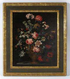 Bartolomeo Bimbi Bouquet of Carnations Roses and Hyacinths in an embossed Metal Vase - 280333