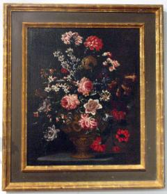 Bartolomeo Bimbi Bouquet of Carnations Roses and Hyacinths in an embossed Metal Vase - 280334