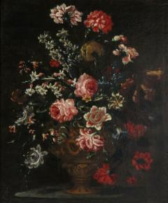 Bartolomeo Bimbi Bouquet of Carnations Roses and Hyacinths in an embossed Metal Vase - 280927