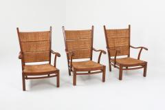Bas Van Pelt High Back Armchairs in Oak and Straw attributed by Bas Van Pelt 1940s - 1248799