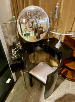 Bauhaus Style Vanity and Chair Black Lacquer Streamline - 1418281