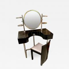Bauhaus Style Vanity and Chair Black Lacquer Streamline - 1418471