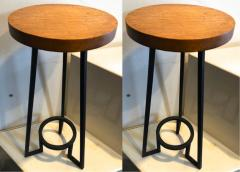 Bauhaus modernist french blond wood pair of side tables - 1025916