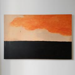 Beatrice Pontacq GRAND NUAGE ORANG HORIZON PRESQUE NOIR Abstract painting - 1133019
