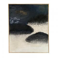 Beatrice Pontacq NUAGES NOIRS SUR FOND BLEU FONCE Abstract Painting - 1133005