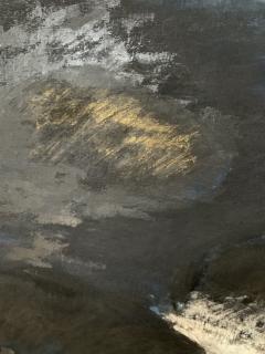 Beatrice Pontacq NUAGES NOIRS SUR FOND BLEU FONCE Abstract Painting - 1133010