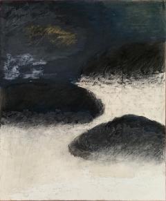 Beatrice Pontacq NUAGES NOIRS SUR FOND BLEU FONCE Abstract Painting - 1133241