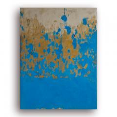 Beatrice Pontacq TRIPTYQUE BLEU ET OR Blue and Gold Triptych - 1504246