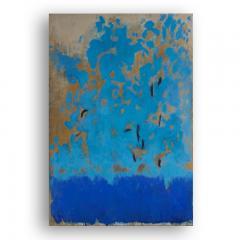 Beatrice Pontacq TRIPTYQUE BLEU ET OR Blue and Gold Triptych - 1504248