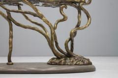 Beautiful Bronze Tree Form Sofa Table with Slate Base and Glass Top 1960s - 1168084