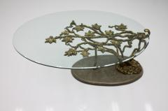 Beautiful Bronze Tree Form Sofa Table with Slate Base and Glass Top 1960s - 1168086
