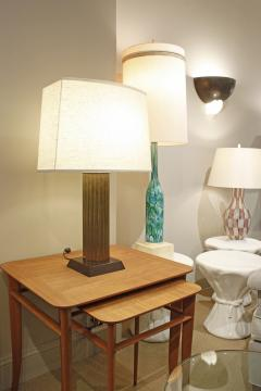 Beautiful Fluted Bronze Table Lamp 1940s - 1055871