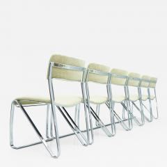 Beautiful Set of Six Dining Chairs in Chrome and Velvet Italy 1970s - 1774989