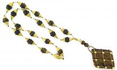 Beautiful Tigers Eye Pearl and Diamond Long Pendant Necklace - 172553
