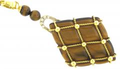 Beautiful Tigers Eye Pearl and Diamond Long Pendant Necklace - 172554