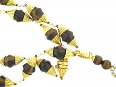 Beautiful Tigers Eye Pearl and Diamond Long Pendant Necklace - 172555