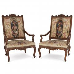 Beauvais Royal Manufacture 18th century Beauvais tapestry furniture suite - 1443681