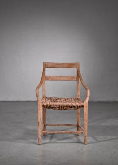 Beech and Woven Rope Armchair Denmark 19th Century - 1736059
