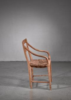 Beech and Woven Rope Armchair Denmark 19th Century - 1736061
