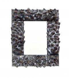 Bela Silva Bela Silva Sculptural Carved Floral Motif Ceramic Wall Mirror - 1188505