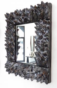 Bela Silva Bela Silva Sculptural Carved Floral Motif Ceramic Wall Mirror - 1188506