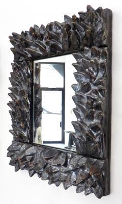 Bela Silva Bela Silva Sculptural Carved Floral Motif Ceramic Wall Mirror - 1188507