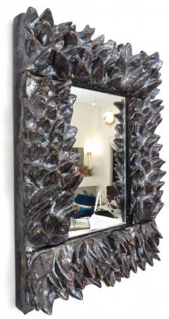 Bela Silva Bela Silva Sculptural Carved Floral Motif Ceramic Wall Mirror - 1188508