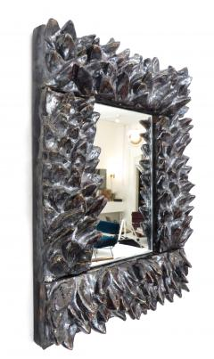 Bela Silva Bela Silva Sculptural Carved Floral Motif Ceramic Wall Mirror - 1188509
