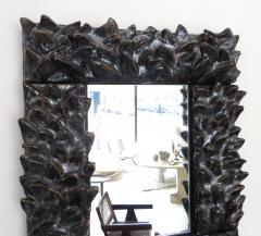 Bela Silva Bela Silva Sculptural Carved Floral Motif Ceramic Wall Mirror - 1188510