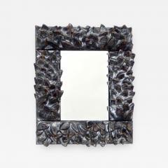 Bela Silva Bela Silva Sculptural Carved Floral Motif Ceramic Wall Mirror - 1189282