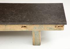 Belgian Bluestone Coffee Table Console with Oak Base France c 1900 - 969829