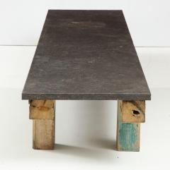 Belgian Bluestone Coffee Table Console with Oak Base France c 1900 - 969835
