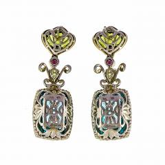 Bellarri bellarri Bellarri Peridot Topaz DIamond SilverRose Gold Dangle Earrings - 300964