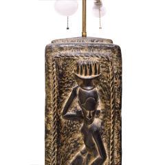 Benjamin Wilson Ben Wilson Pair of Large Plaster Table Lamps with African Motif 1950s - 1178361
