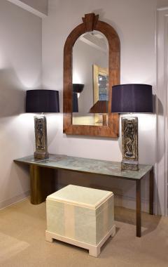 Benjamin Wilson Ben Wilson Pair of Large Plaster Table Lamps with African Motif 1950s - 1178363