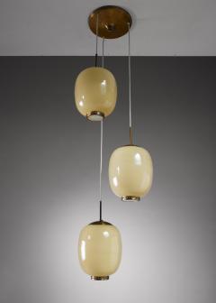 Bent Karlby Rare Bent Karlby striped glass chandelier Denmark 1950s - 1076572