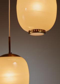 Bent Karlby Rare Bent Karlby striped glass chandelier Denmark 1950s - 1076573