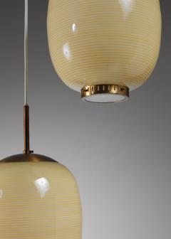 Bent Karlby Rare Bent Karlby striped glass chandelier Denmark 1950s - 1076574