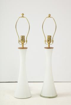 Berndt Nordstedt A pair of Swedish Milk Glass Table Lamps Bergboms Circa 1960s - 1458304