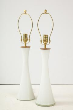 Berndt Nordstedt A pair of Swedish Milk Glass Table Lamps Bergboms Circa 1960s - 1458306